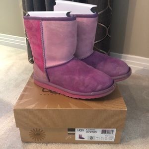 Rare UGG Classic Patchwork Girls Size 3 Boots